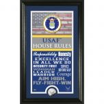 "USAF Framed ""House Rules"" Photo Mint with Silver Collectors Coin"
