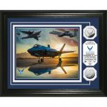 USAF Framed Wall Display Photo Mint with Silver Collectors Coin