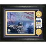 USN Framed Wall Display Photo Mint with Bronze Collectors Coin