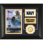 USN Framed Desktop Display Photo Mint with Bronze Collectors Coin