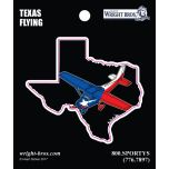 Texas State with Airplane Sticker