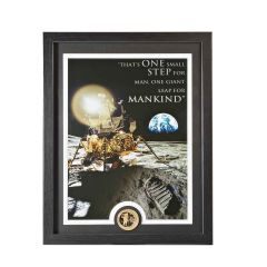Framed Apollo 11 Moon Landing Print with Bronze Collectors Coin