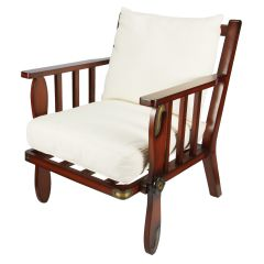 Propeller Mahogany Arm Lounge Chair with Cushions