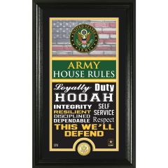 "U.S. Army Framed ""House Rules"" Photo Mint with Bronze Collectors Coin"