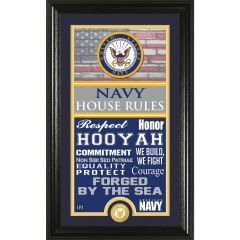 "USN Framed ""House Rules"" Photo Mint with Bronze Collectors Coin"