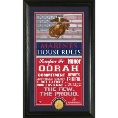 "USMC Framed ""House Rules"" Photo Mint with Bronze Collectors Coin"
