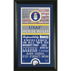 """USAF Framed """"House Rules"""" Photo Mint with Silver Collectors Coin"""