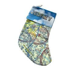 Custom U.S. Aeronautical Chart  Christmas Stocking