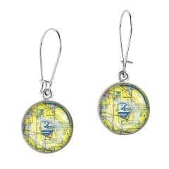 Custom U.S. Aeronautical Chart Earrings