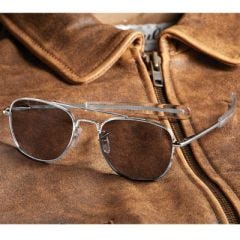 Military Aviator Sunglasses -  57mm (Silver Frame)