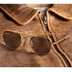 Military Aviator Sunglasses - 57mm (Gold Frame)