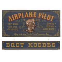 Airplane Pilot for Hire Wood Sign (non-personalized)