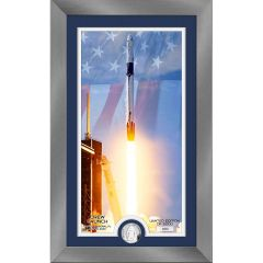 Launch America Dragon Capsule Liftoff Framed Print with Collectable Coin