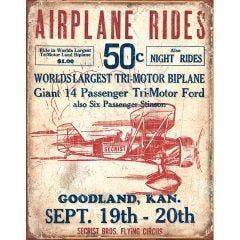 Secrist Bros. Flying Circus – Airplane Rides Tin Sign