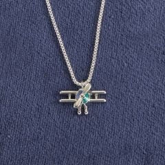 Biplane Silver-Tone Necklace