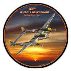 P-38 Lightning Large Aviation Metal Sign
