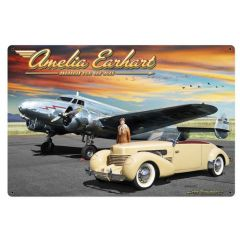 Amelia Earhart Large Aviation Metal Sign