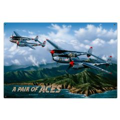 A Pair of Aces Large Aviation Metal Sign