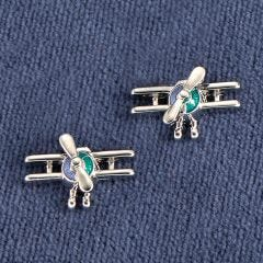 Biplane Silver-Tone Earrings