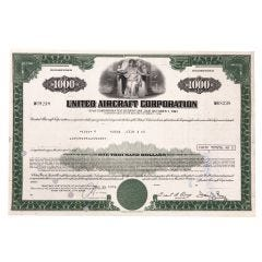 United Aircraft Corporation Subordinated Debenture Certificate