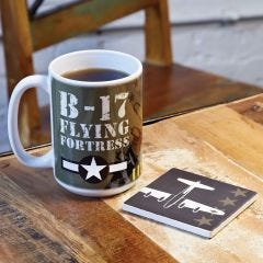 B-17 Bomber Coffee Mug and Coaster Set