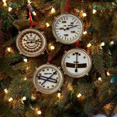 Aircraft Instrument Wood Ornaments (Set of 4)