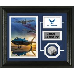 USAF Framed Desktop Display Photo Mint with Silver Collectors Coin