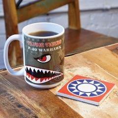 P-40 Flying Tigers Coffee Mug and Coaster Set