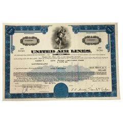 Limited Edition United Air Lines Certificate of Stock