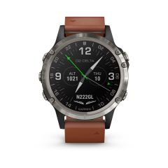 Garmin D2 Delta Watch Black (Brown Leather Band Band 47mm )