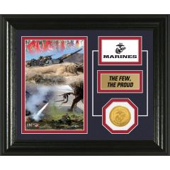 USMC Framed Desktop Display Photo Mint with Bronze Collectors Coin