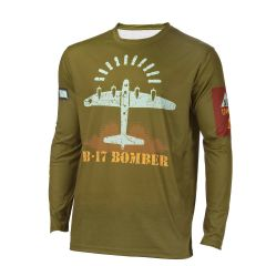 B-17 Flying Fortress Bomber Long Sleeved Athletic Shirt
