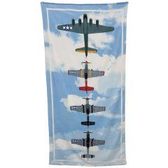 B-17 Bomber with P-51 Mustang Escort Beach Towel