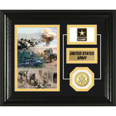 U.S. Army Framed Desktop Display Photo Mint with Bronze Collectors Coin
