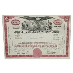 Limited Edition Pan American World Airways Certificate of Stock