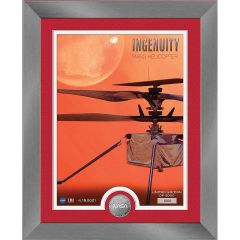 Ingenuity Mars Helicopter Framed Print with Mint Coin