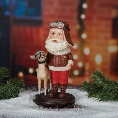 Aviator Santa with Reindeer Bobblehead
