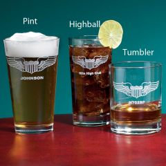 Pilot Wings Personalized Glassware (set of 4)
