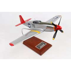 P-51C TUSKEGEE SIGNED BY CHARLES MCGEE 1/24 (AP51CT) Mahogany Model