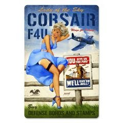 Corsair F4U Large Aviation Metal Sign