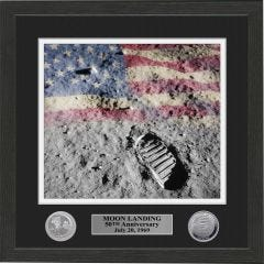 Framed Moon Landing Print with Collectors Coins