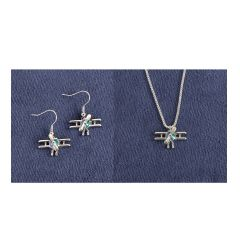 Biplane Silver-Tone Jewelry Set (Necklace and Earrings)